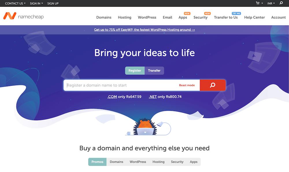 Namecheap Domain Registration Page