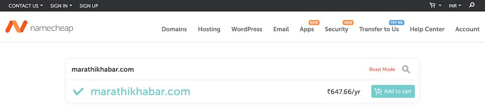 Namecheap Domains Add to Cart