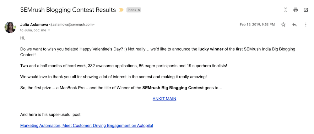 SEMrush Big Blogging Contest Winner